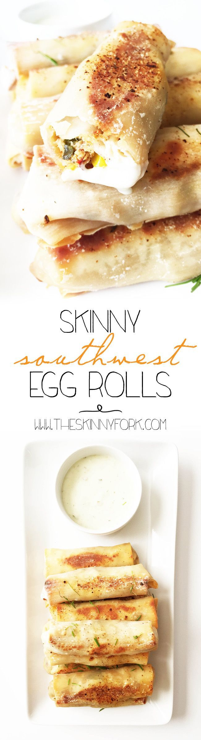 I can't say enough good things about these Skinny Southwest Egg Rolls! All the flavor and crunch of the original with none of the guilt of 'deep fried' anything. TheSkinnyFork.com | Skinny & Healthy Recipes