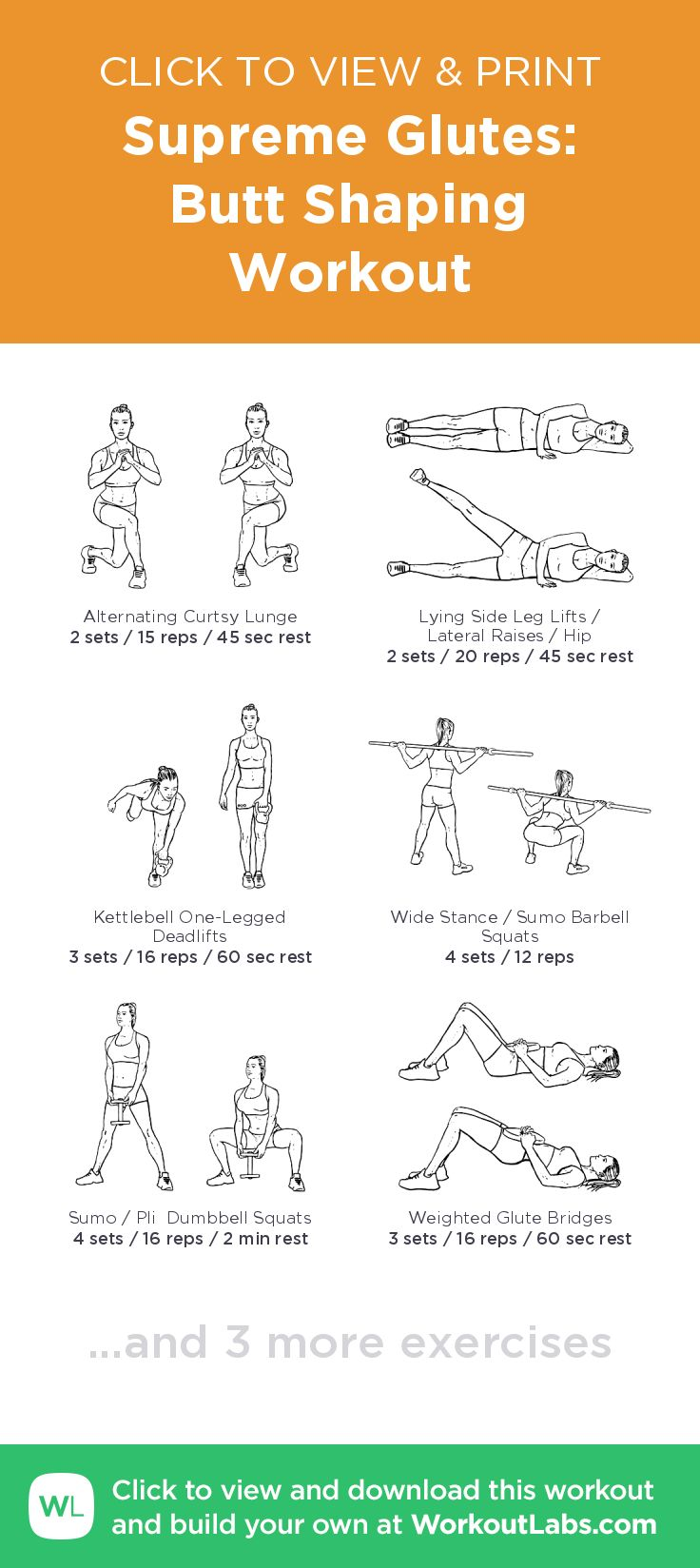 Supreme Glutes: Butt Shaping Workout – click to view and print this illustrated exercise plan created with #WorkoutLabsFit