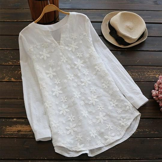 Womens Tops and Long Sleeve Blouses 2018 Vintage Lace Floral V Neckrricdress