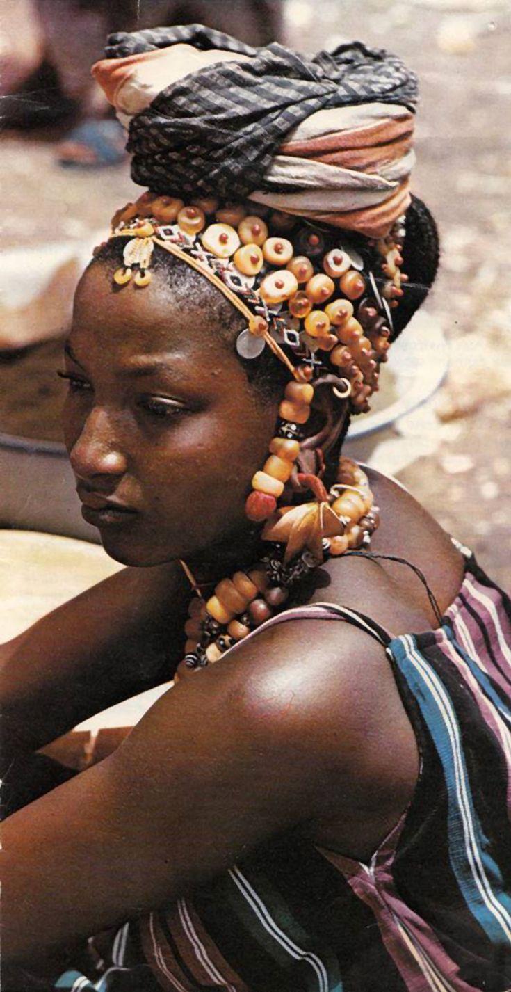 Africa | Fulani woman in Senegal. ca. 1970s |©Micheal Renaudeau         A BEAUTIFUL WOMAN WEARING DECORATION--WONDERFUL!