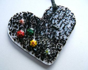Fused Glass Love Heart in Black