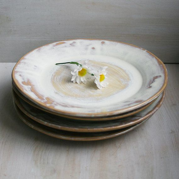 Rustic Dinner Plates Set of Four Handmade Ceramic Dishes - Creamy Milk and Honey Glazed Stoneware Dishes - Rustic Dinnerware Ready to Ship on Etsy, $140.00
