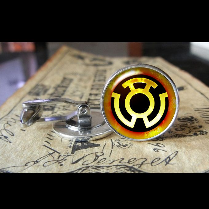 YELLOW LANTERN CORPS.  www.kustomkufflinks.com 2 sizes so far 16mm and 20mm more to come! I do wedding packages, graduations, or just for whatever you want to wear them for!