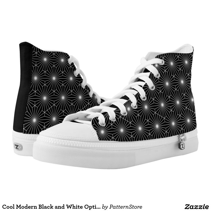 Cool Modern Black and White Optical Illusion Printed Shoes from #PatternStore