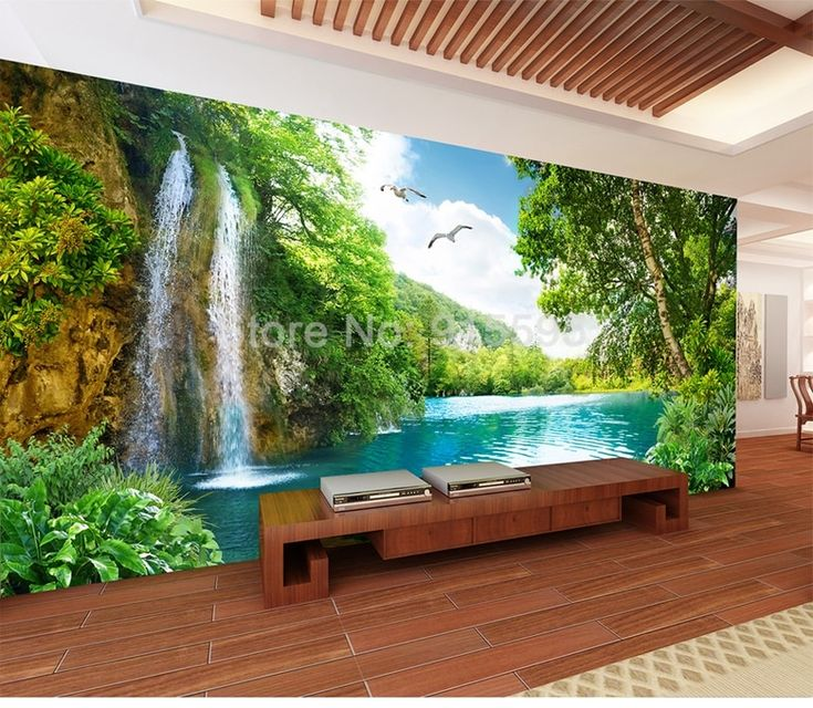 3D Wallpaper Home Decor Green Mountain Waterfall