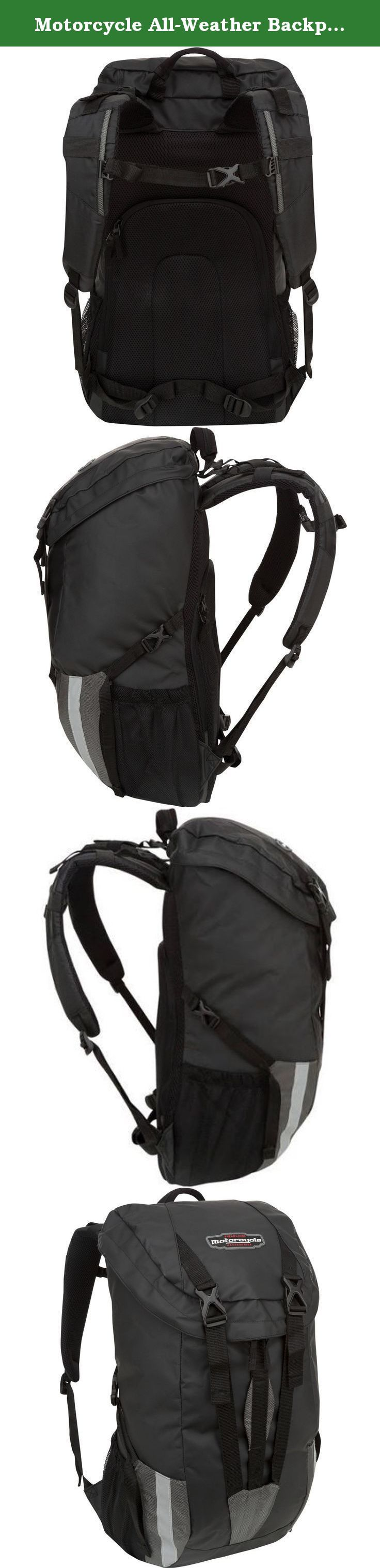 Motorcycle All-Weather Backpack, Black-Fieldline-NB002FL-008. The Fieldline Al-Weather Backpack is made from Weather Defense fabric. It easily slides onto a standard motorcycle backrest. With a roll-top closure, it's easy to retrieve items from it quickly. This Fieldline motorcycle backpack also comes with an all-purpose front carry handle. Two side compression straps and an accessory organizer help to keep your items in place during long rides. This item also features unique internal and...