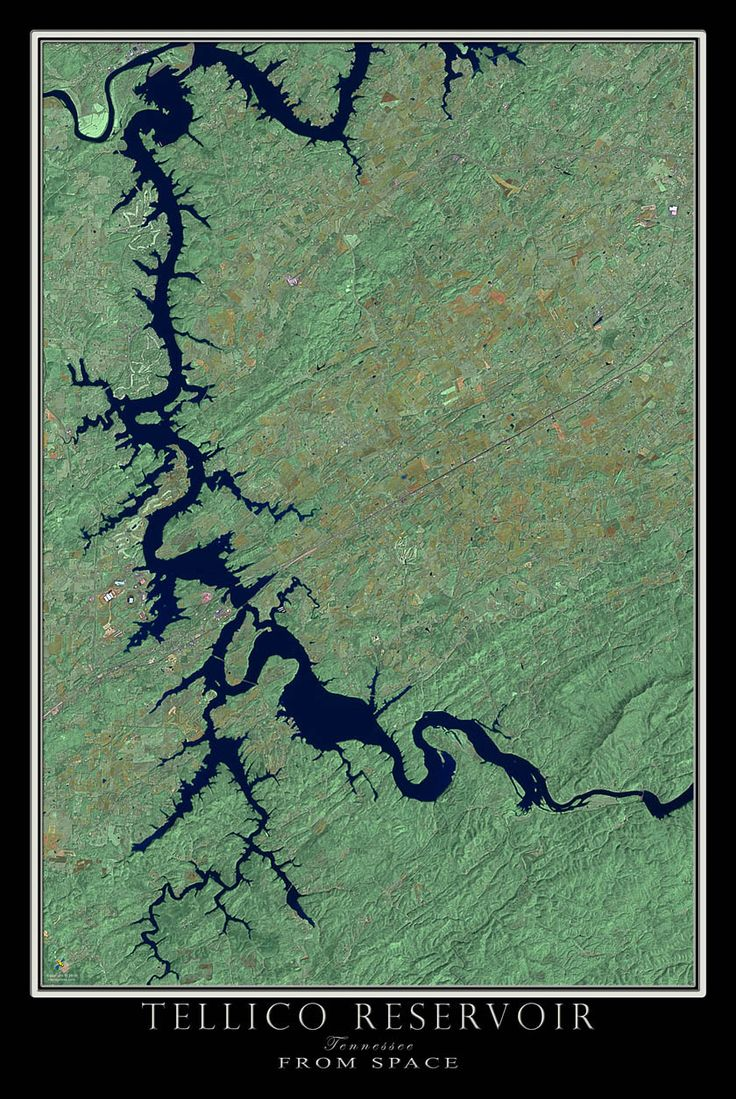 Tellico Lake Tennessee Satellite Poster Map 26
