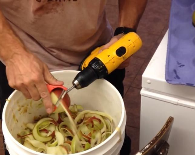 You HAVE to See This Crazy Video of a Man Peeling Apples with a Power Drill