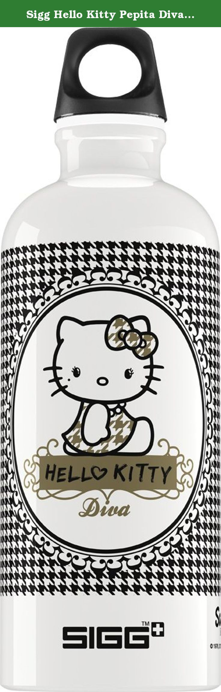 Sigg Hello Kitty Pepita Diva Water Bottle, 0.6-Liter, White/Black. SIGG bottles have become a conveted style icon due to the century of Swiss quality, expertise and experience. SIGG bottles are durable and functional. SIGG combines our deeply rooted history with a forward - looking mindset, bringing our established technical know - how in line with our passion for innovation.