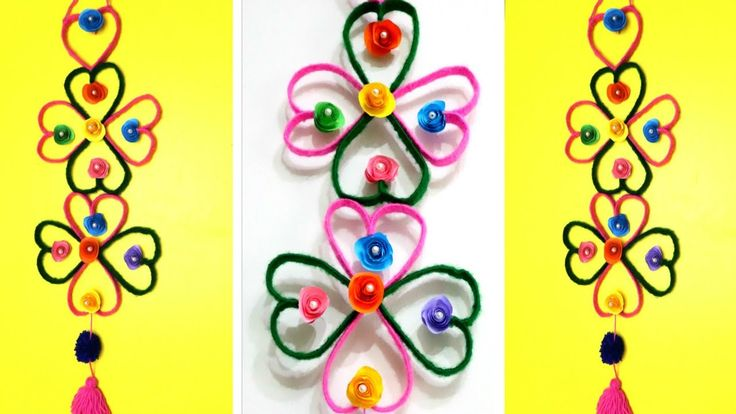 DIY: Wall Hanging From Plastic Bottle and Woolen  WALL HANGING CRAFT IDE...
