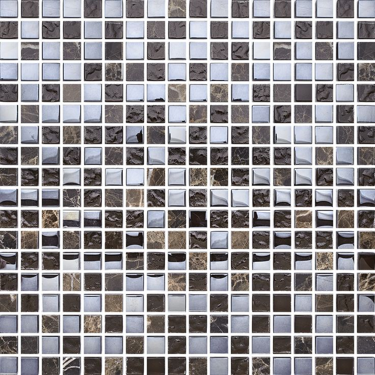 T1515 Brown Mix Stone Glam. Effektfull glasmosaik blandad med natursten.