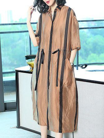 f101de53064 Shirt Collar Midi Dress Shift Daytime Casual Striped Dress