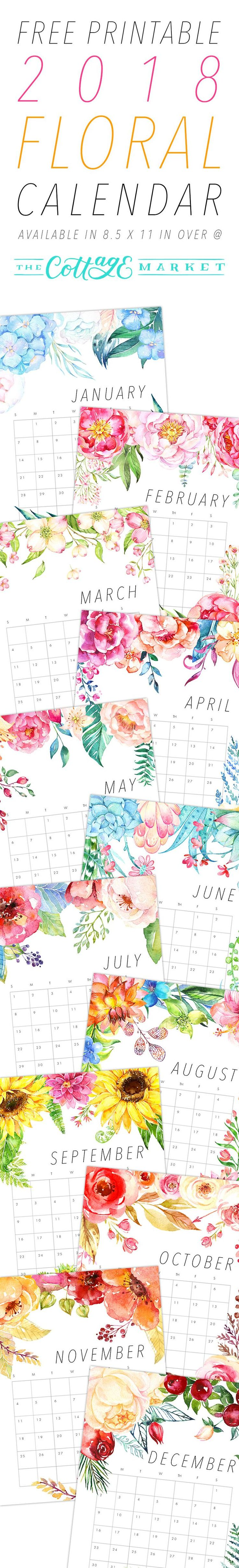 Free Printable 2018 Floral Calendar It's time for your Free Printable 2018 F…