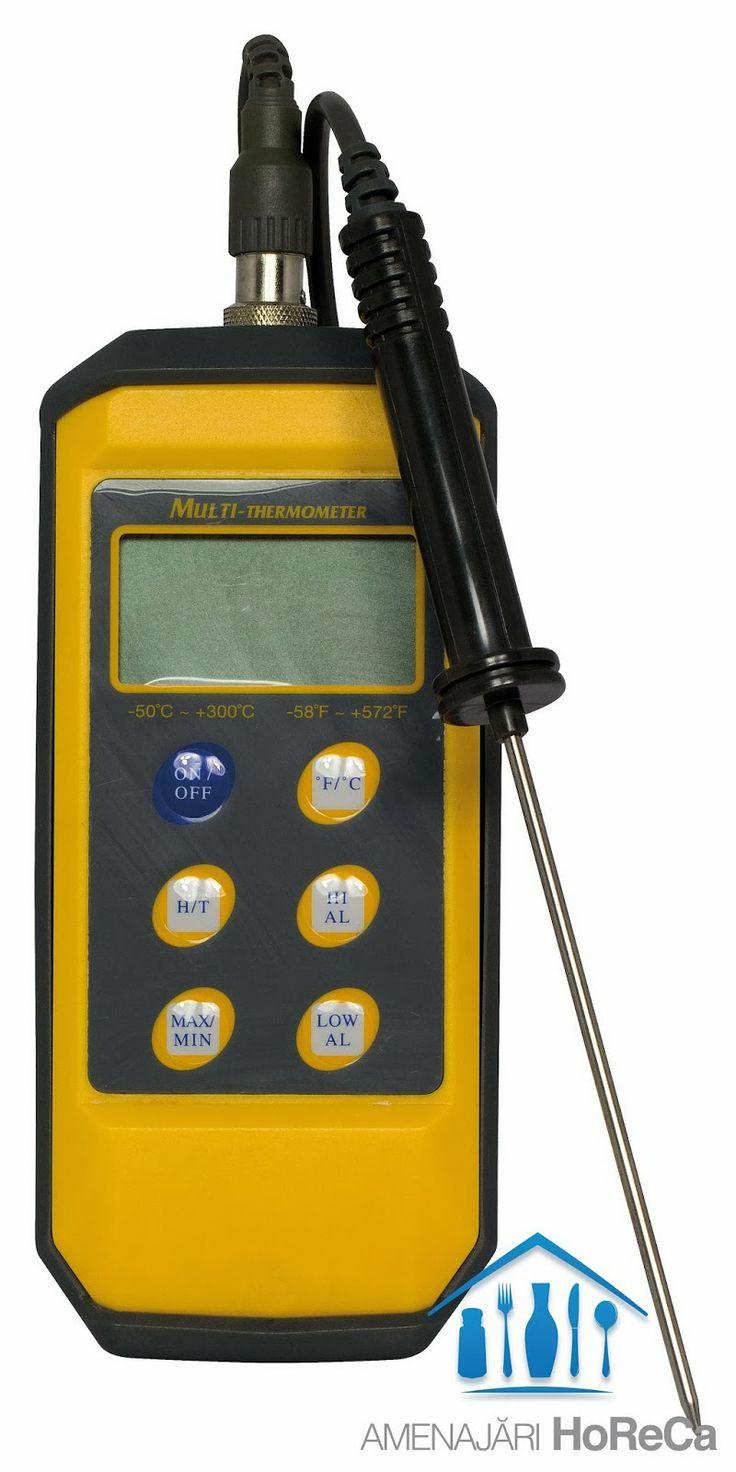 TERMOMETRU CU SONDA, BUCATARII PROFESIONALE  Accesorii bucatarii profesionale, import Olanda.  Dimensiuni:  85x195x(H)45 mm; Digital, cu sonda detasabila, din oțel inoxidabil, 213 mm; Rezistent la stropire;  Interval de masurare de la -50°C pana la +300°C; Carcasa de protectie din material plastic; Se oprește automat; Baterie 1x1.5V (tip AAA); Baterie inclusa.