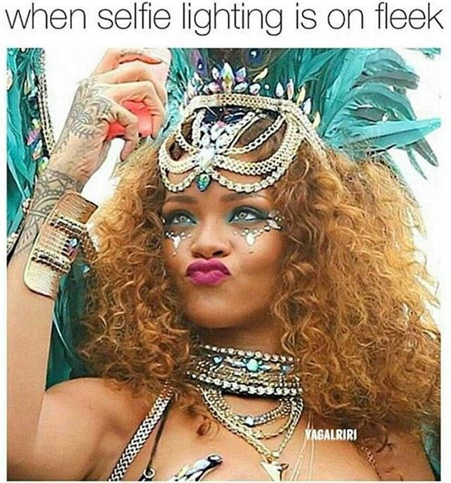 Rihanna | Carnival makeup & hair | from http://nowaygirl.com/memes/hilarious-rihanna-memes-will-enjoy-10-photos/