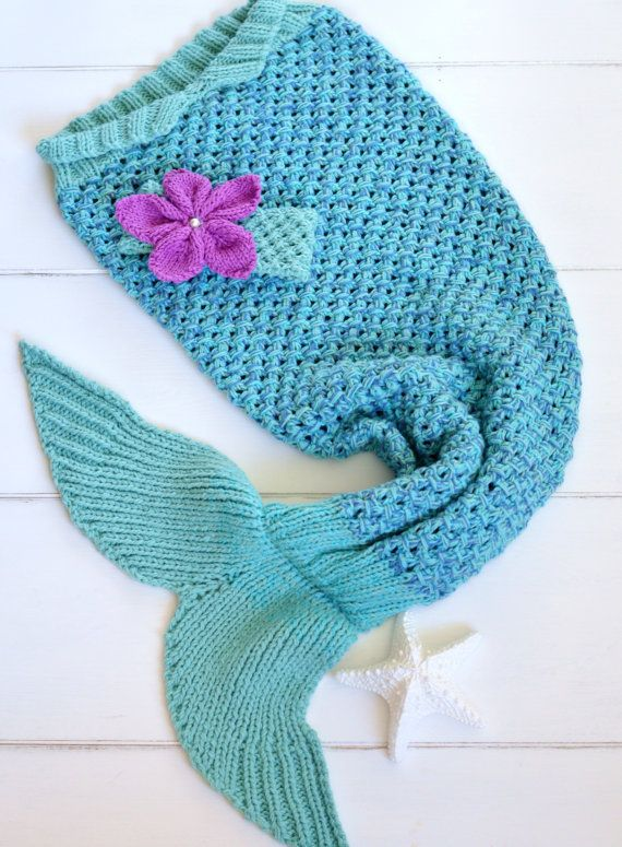 KNITTING PATTERN Mermaid Tail Blanket 6 sizes 2/3yrs, 4/5yrs 6/7yrs, 8/9yrs, 10/11yrs, 12/13yrs, with Matching Headband  Digital fil