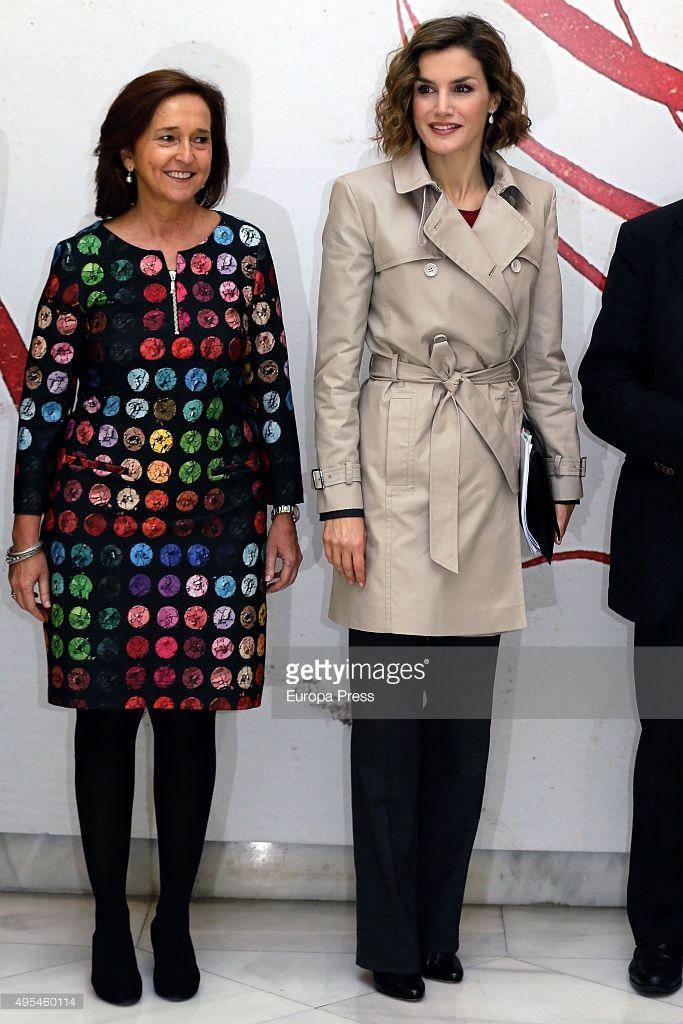 Queen Letizia of Spain and Ana Santos (L) attend 'Cooperacion Espanola 2030. Espana y la nueva agenda de desarrollo sostenible' seminar on November 3, 2015 in Madrid, Spain.
