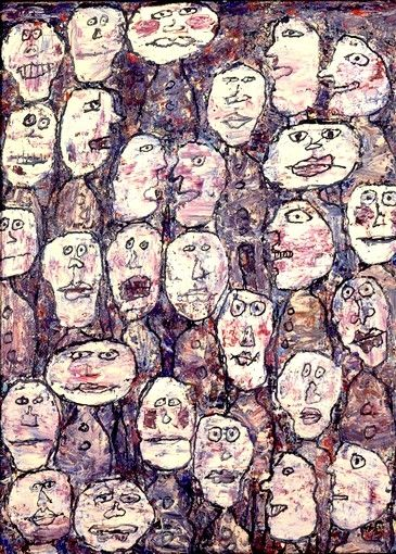 """""""Throughout Jean Dubuffet's life, he collected """"Outsider Art"""" i.e., Art by mentally deranged people, vagabonds, street urchins, and prisoners. He found inspiration in the seemingly asymmetric scrawling and the scratching of this kind of unintentional Graffiti and sought to convey that madness in his own Oil and Impasto Works.  Most of his works appear as primitive and doodling that is almost too basic...[like] a kindergarten kid."""""""