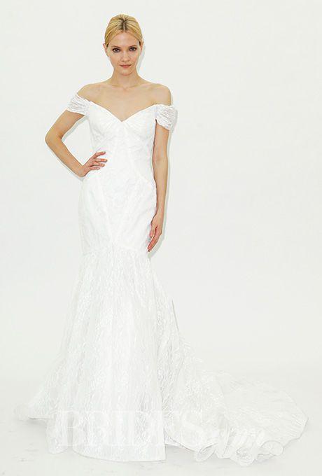 Brides: Truly Zac Posen - Spring 2016. Off-the-shoulder mermaid wedding dress with v-neckline, Truly Zac Posen