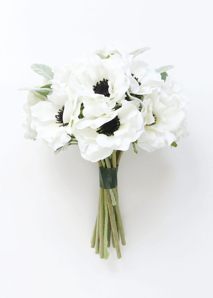 Cream Anemone & Lamb's Ear Bouquet Wedding Ideas at Afloral.com