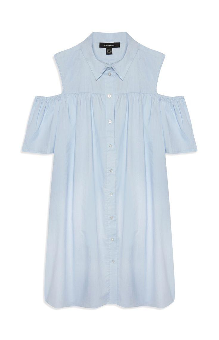 Blue Cold Shoulder Shirt Dress
