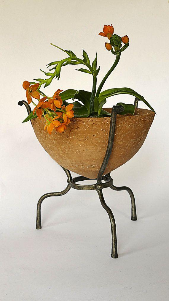 Clay Planter Cast Iron Rack Ceramic Plant Holder by GlinkaDesign
