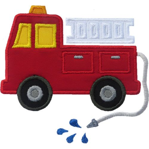 Fire truck page with hose that comes out and a building on the second page with windows and inside is fire.