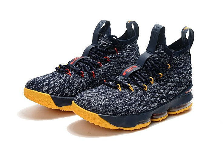 the latest b63aa c448e Cheapest And Latest New Arrival March 2018 2019 Cheap LeBron 15 XV Cavs  Away Midnight Navy Yellow