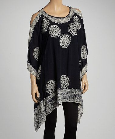 Take a look at this White Embroidered Cape-Sleeve Tunic by India Boutique on #zulily today!
