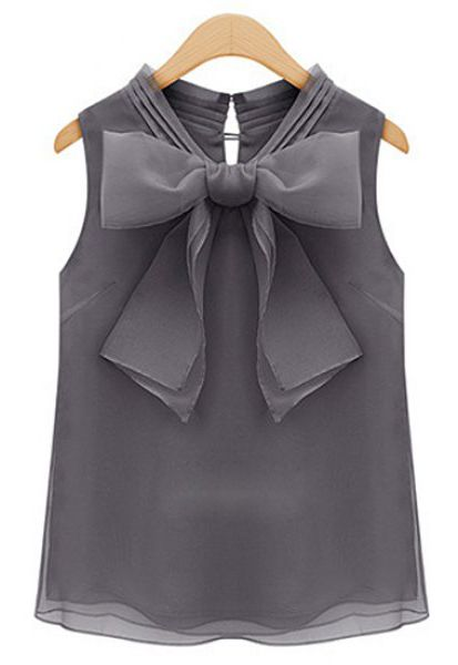 Sweet Bow Tie Collar Solid Color Sleeveless Blouse
