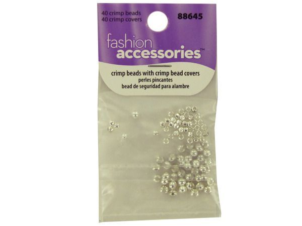 Crimp Beads and Covers, 40 - This package contains 40 crimp beads and 40 crimp bead covers Beads are packaged separately, making these easy to use and store. Includes 80 pieces. Instructions for use are included on the package.-Colors: silver. Material: metal. Weight: 0.0075/unit