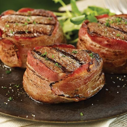 Our Bacon-Wrapped Filets are a tantalizing taste combination. Juicy, tender Omaha Steaks Filet Mignon wrapped in a savory strip of bacon. Removable metal skewers hold bacon in place during cooking.INGREDIENTS: Bacon Cured with: Water, Salt, Sugar, Sodium Phosphate, Sodium Erythorbate, Sodium Nitrite.