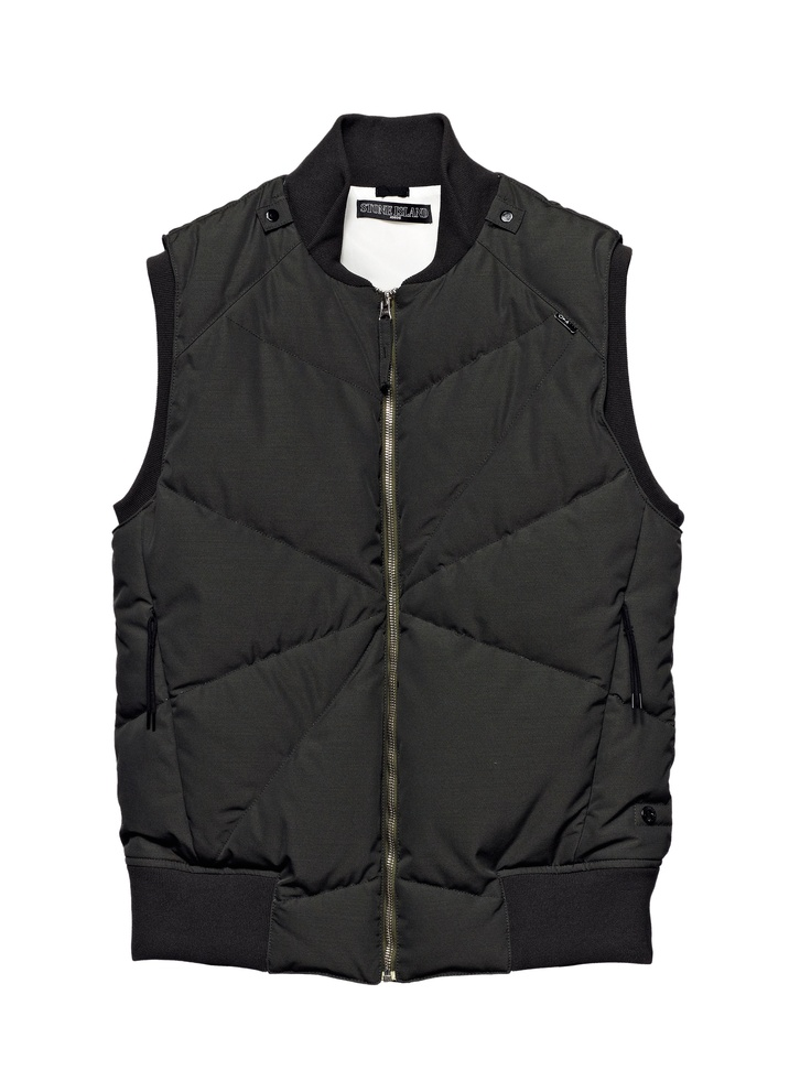 G0302 CATEGORY AUGMENT_ MODULAR DOWN VEST_ TECHNICAL WOOL [WOOL / NY REPS WITH DOWN INSULATION] Technical look for this mil. spec. wool nylon rep, treated with an anti-drop agent.