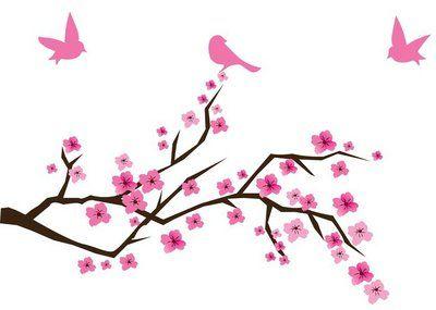 Muursticker Cherry blossom met vogels