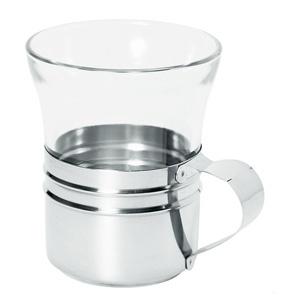 Pahar din sticla pentru ceai, cu suport din inox.