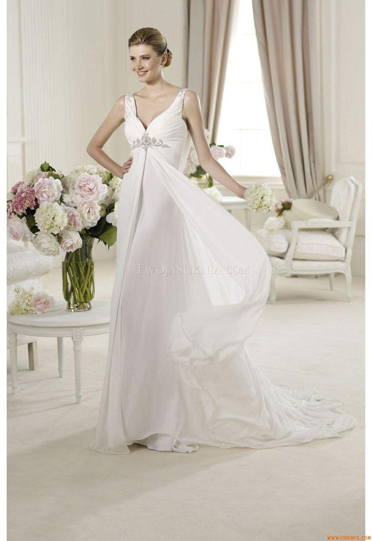 Great Elegant A line Straps Beading Sweep Brush Train Chiffon Wedding Dresses Wedding Dresses Bridesmaid Dresses Gowns Online Shop