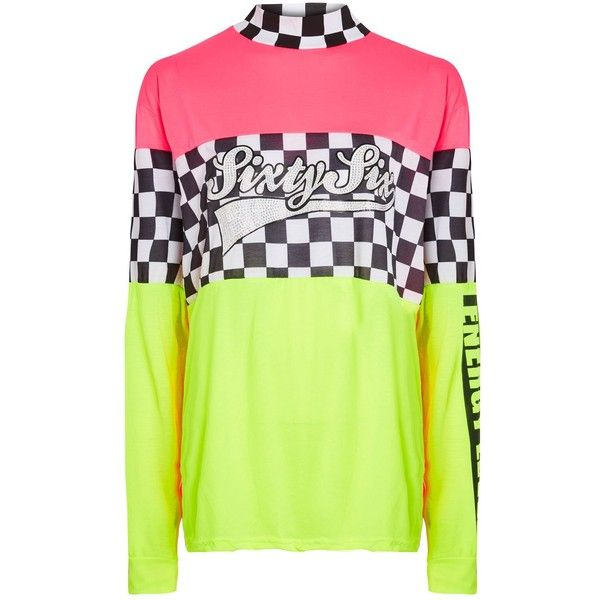 Neon Toxic Rave Football Top by Jaded London ($51) ❤ liked on Polyvore featuring tops, green, neon green top, oversized tops, green top and neon top