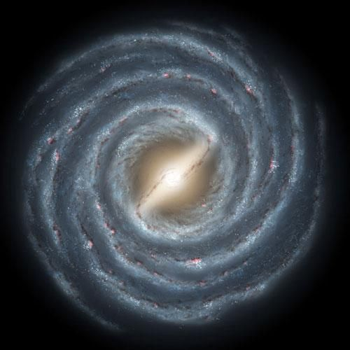 """Milky Way.  """"Every star we see in the sky is part of the Milky Way, but a brighter center exists some 26,000 light-years away. The Milky Way is about 100,000 light-years in diameter and contains 200 to 400 billion stars."""""""
