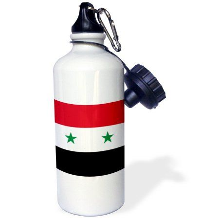 3dRose Flag of Syria - Syrian red white black with two green stars Middle East Arab country Arabic world, Sports Water Bottle, 21oz