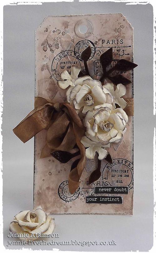 Live The Dream : Jennie Atkinson Tim Holtz Ground Espresso Distress Ink and Distress Spray Stain Tattered Florals