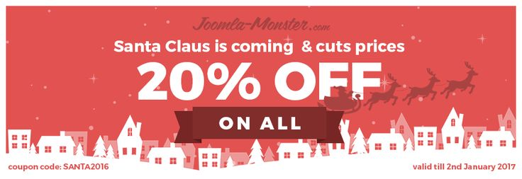 Celebrate #Christmas time with us! Take the advantage of our #sale and save 20% buying best #multipurpose #templates for #Joomla! https://www.joomla-monster.com/