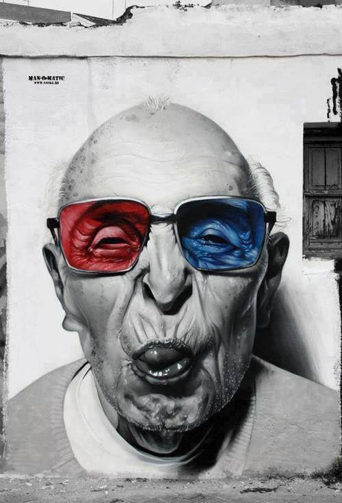 Street art. 3d glasses grandpa