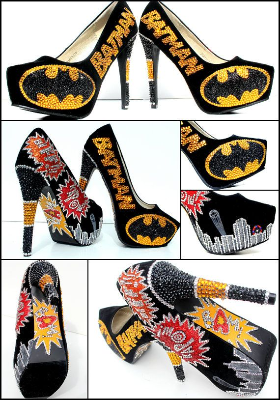 Batman heels encrusted with Swarovski crystals // just a BIT over the top, but still Batman!
