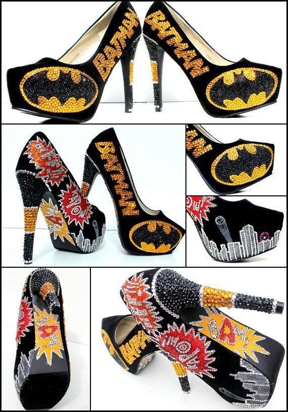 Batman heels encrusted with Swarovski crystals