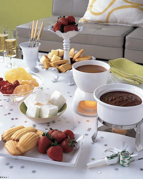 Set up a sweet caramel fondue buffet for New Year's Eve.