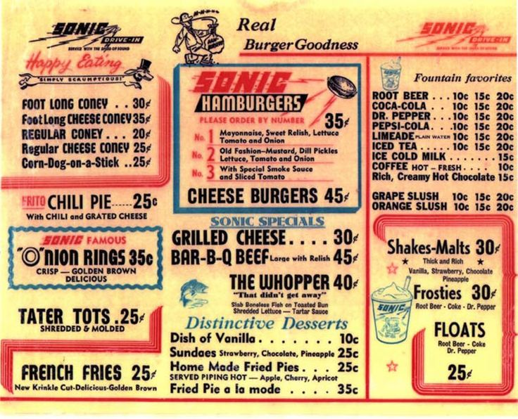 Sonic\u0027s first menu (1959) A Blast From the Past Vintage diner
