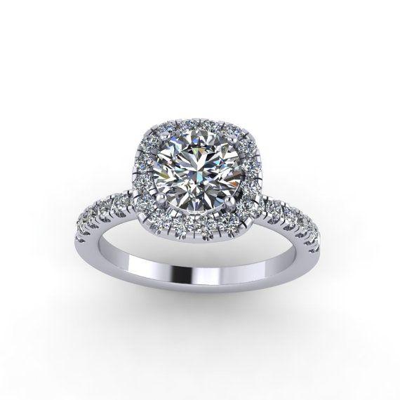 Diamond engagement ring ,moissanite center. style 26WDM