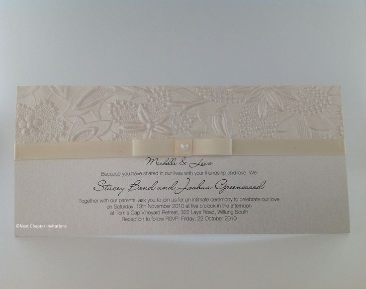 CREAM FROSTING A beautiful cream frosted, floral embossed metallic paper  and a vanilla satin bow. Comes complete with addressed envelopes. PRICE $3.95 https://www.facebook.com/NextChapterWeddingInvitations