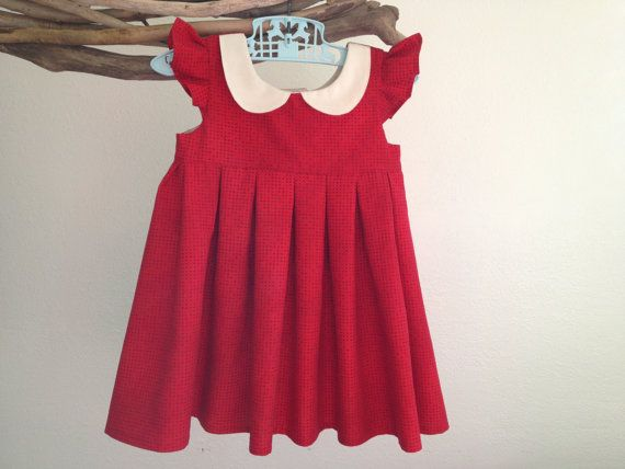 Girl's red Peter Pan collar Christmas dress - Evelyn Fields