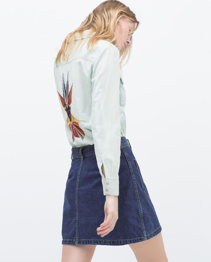 Image 3 of EMBROIDERED DENIM SHIRT from Zara